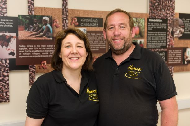 Carol and Andrew Oldbury the Directors of Private Label chocolate manufacturer Hames Chocolates