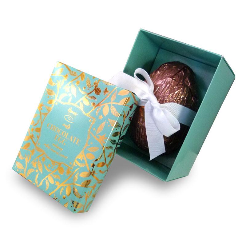 Hames Salted Caramel Easter egg in a beautiful aqua foil printed box