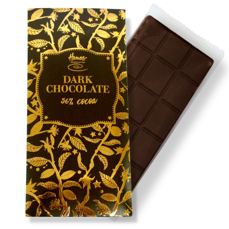 Vegan friendly, rich, dark chocolate bar with 56% cocoa solids from Hames Chocolates Bronze collection.