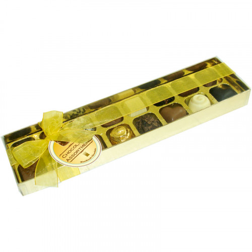 Clear Top Truffle Box - 16 Chocolate Assorted Presented in a Gold Box with a Clear Lid Finished with a Beautiful Hand Tied Gold Ribbon x Outer of 6