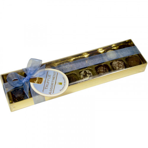 Clear Top Truffle Box - 16 Assorted Truffles Presented in a Gold Box with a Clear Lid Finished with a Beautiful Hand Tied Blue Ribbon x Outer of 6