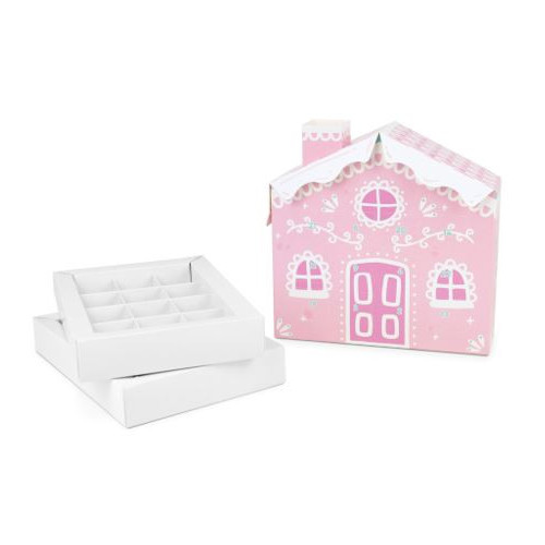 Colourful Biodegradable 24 Cavity 3D Pink Candy Cane House Advent Calendar