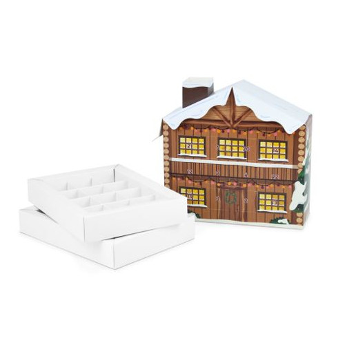 Colourful Biodegradable 24 Cavity 3D Snowy Ski Lodge Advent Calendar