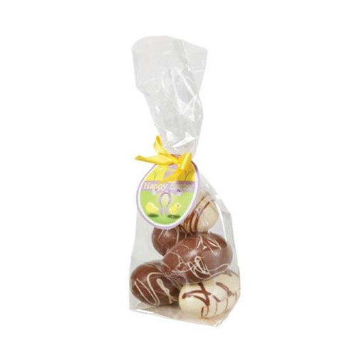 Happy Easter - 5 Decorated Milk Chocolate Hen Eggs in a Bag With a Happy Easter Swing Tag and Twist Tie Bow