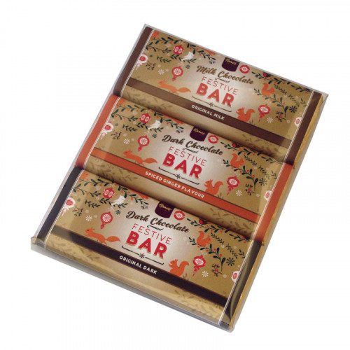 Festive Christmas - Trio of 50g Milk Chocolate, Dark Chocolate , Dark Spiced Ginger Chocolate Bars Wrapped in Gold Foil and Finished with a Festive Wrapper