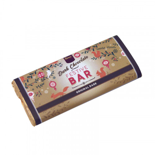Festive Christmas - Dark Chocolate 50g Bar Wrapped in Gold Foild and Finished with a Festive Wrapper