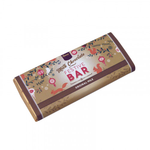 Festive Christmas - Milk Chocolate 50g Bar Wrapped in Gold Foil and Finished with a Festive Wrapper