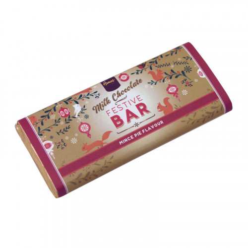 Festive Christmas - Milk Chocolate Mince Pie Flavoured 50g Bar Wrapped in Gold Foil and Finished with a Festive Wrapper