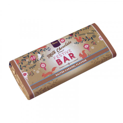 Festive Christmas - Milk Chocolate Salted Caramel 50g Bar Wrapped in Gold Foil and Finished with a Festive Wrapper