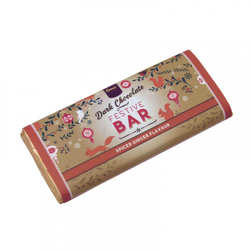 Festive Christmas - Dark Chocolate & Spiced Ginger 50g Bar Wrapped in Gold Foil and Finished with a Festive Wrapper