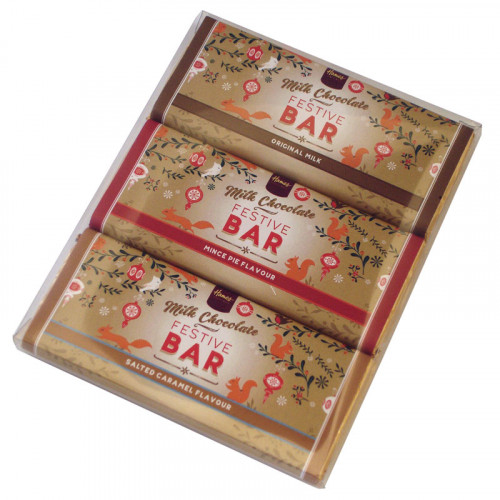 Festive Christmas - Trio of 50g Milk Chocolate, Mince Pie Flavour, Salted Caramel Chocolate Bars Wrapped in Gold Foil and Finished with a Festive Wrapper