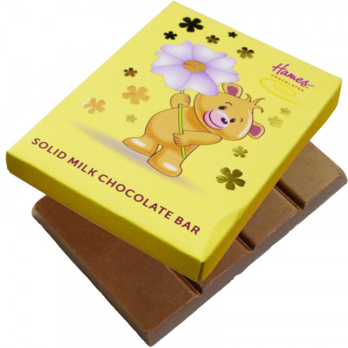 Alpha Bear Solid Milk Chocolate 50g Bar - Bear with Flower