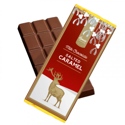 Festive Stag - Salted Caramel Flavour Milk Chocolate 50g Bar Wrapped in Gold Foil and Finished with a Festive Wrapper