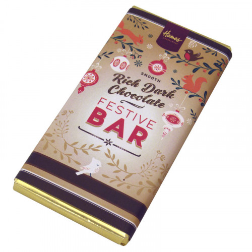 Festive Christmas - Rich Dark Chocolate 80g Bar Wrapped in Gold Foil and Finished with a Festive Wrapper