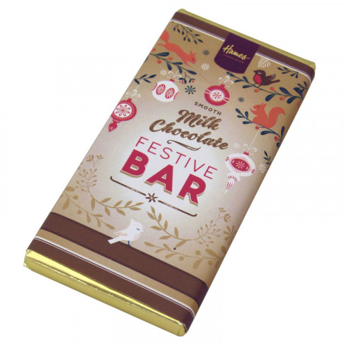 Festive Christmas - Milk Chocolate 80g Bar Wrapped in Gold Foil and Finished with a Festive Wrapper