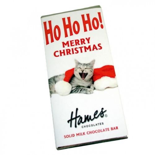 Christmas Novelties - Milk Chocolate Chocolate 80g Bar Wrapped in Silver Foil Finished with a Ho Ho Ho