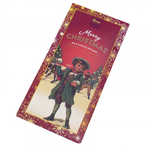 Victorian Christmas - 80g Milk Chocolate Bar Presented in a Card Sleeve with a Victorian Boys Snowball Fight Design