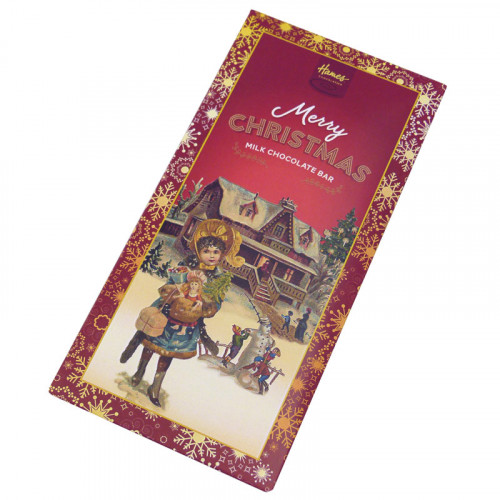 Victorian Christmas - 80g Milk Chocolate Bar Presented in a Card Sleeve with a Victorian Girl Design