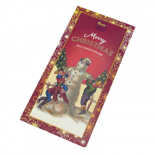 Victorian Christmas - 80g Milk Chocolate Bar Presented in a Card Sleeve with a Victorian Snowman Design