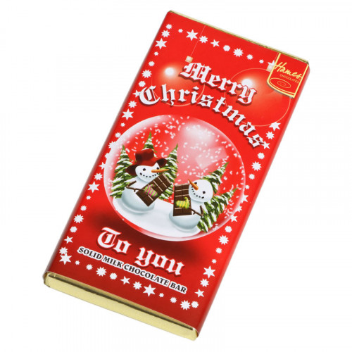 Christmas Snow Globe - Milk Chocolate Bar 80g Wrapped in Silver Foil Finished in a Festive Wrapper