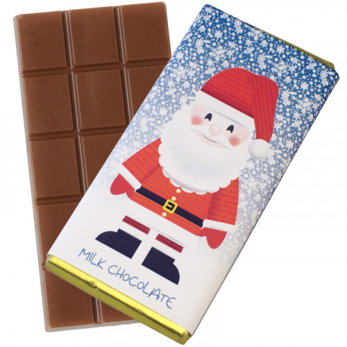 A Very Woolly Christmas - Santa Themed Knitted White Chocolate Bars 80g Wrapped in Gold Foil