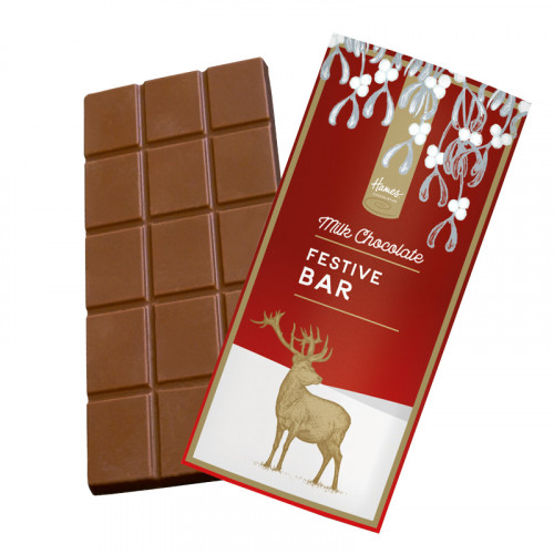 Festive Stag - Milk Chocolate 80g Bar Wrapped in Gold Foil and Finished with a Festive Wrapper