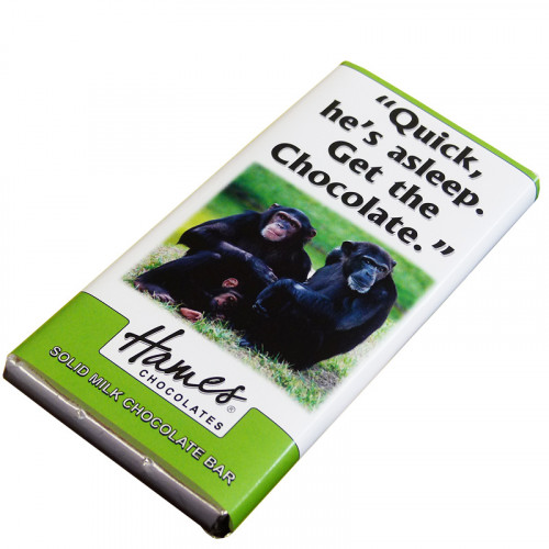 Animals with Attitude - 80g Milk Chocolate Bar Wrapped in Silver Foil Finished with a Themed Chuckle Chimp Wrapper x Outer of 12
