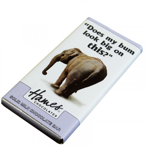 Animals with Attitude - 80g Milk Chocolate Bar Wrapped in Silver Foil Finished with a Themed Chuckle Elephant Wrapper x Outer of 12