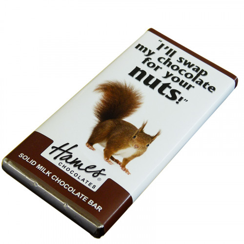 Animals with Attitude - 80g Milk Chocolate Bar Wrapped in Silver Foil Finished with a Themed Chuckle Squirrel Wrapper x Outer of 12