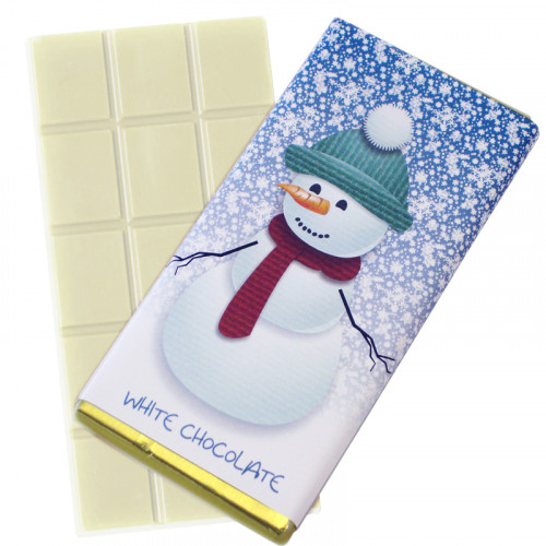 A Very Woolly Christmas - Snowman Themed Knitted White Chocolate Bars 80g Wrapped in Gold Foil