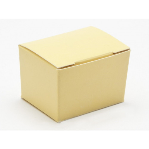 Fold-Up 1 Choc Ballotin Flat Top Box Only 37mm x 33mm x 31mm in Buttermilk Yellow
