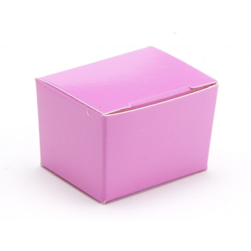 Fold-Up 1 Choc Ballotin Flat Top Box Only 37mm x 33mm x 31mm in Electric Pink