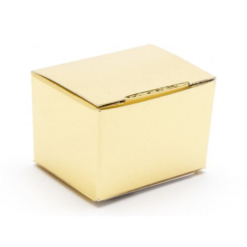 Fold-Up 1 Choc Ballotin Flat Top Box Only 37mm x 33mm x 31mm in Gold