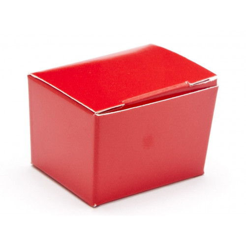 Fold-Up 1 Choc Ballotin Flat Top Box Only 37mm x 33mm x 31mm in Red