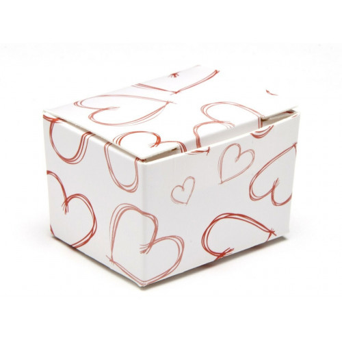 Fold-Up 1 Choc Ballotin Flat Top Box White with Red Heart Design 37mmx 33mm x 31mm