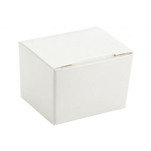 Meridian Packaging - 1 Choc White Ballotin Flat Top Fold-Up Box Only 37mm x 33mm x 31mm