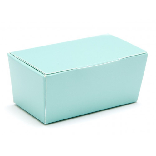 Ready-Assembled 2 Choc Ballotin Flat Top Box Only 66mm x 33mm x 31mm in Aqua