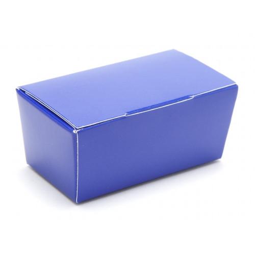 Ready-Assembled 2 Choc Ballotin Flat Top Box Only 66mm x 33mm x 31mm in Blue