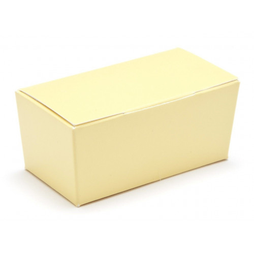 Ready-Assembled 2 Choc Ballotin Flat Top Box Only 66mm x 33mm x 31mm in Buttermilk Yellow