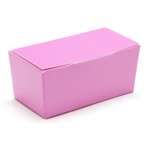 Ready-Assembled 2 Choc Ballotin Flat Top Box Only 66mm x 33mm x 31mm in Electric Pink