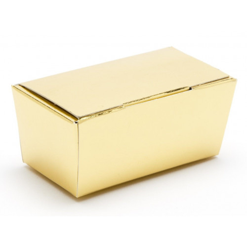 Ready-Assembled 2 Choc Ballotin Flat Top Box Only 66mm x 33mm x 31mm in Gold