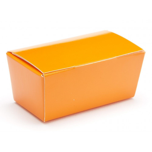 Ready-Assembled 2 Choc Ballotin Flat Top Box Only 66mm x 33mm x 31mm in Orange