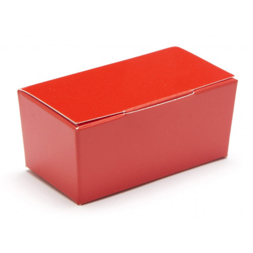 Ready-Assembled 2 Choc Ballotin Flat Top Box Only 66mm x 33mm x 31mm in Red