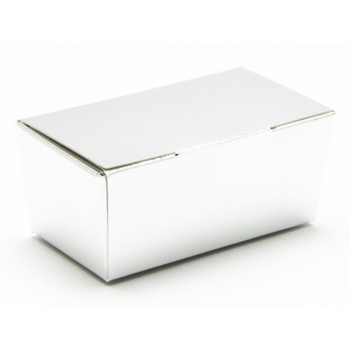 Ready-Assembled 2 Choc Ballotin Flat Top Box Only 66mm x 33mm x 31mm in Silver