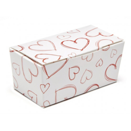 Ready-Assembled 2 Choc Ballotin Flat Top Box White with Red Heart Design 66mm x 33mm x 31mm