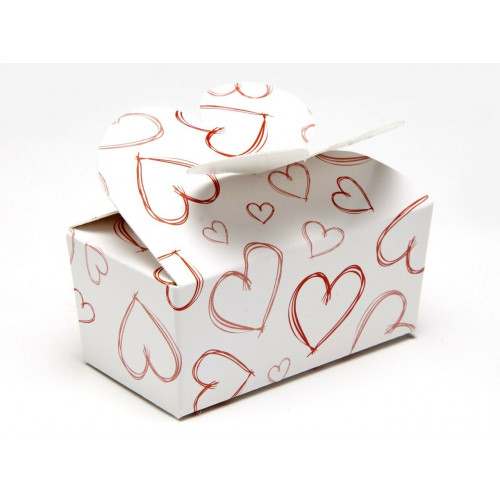 Fold-Up Dainty Belgian Style Tapered Gift Carton with Locking Top White with Red Heart Design 66mm x 33mm x 31mm ideal for Chocolate, Truffles or Confectionery