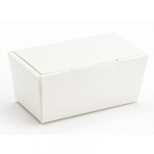 Ready-Assembled 2 Choc Ballotin Flat Top Box Only 66mm x 33mm x 31mm in White