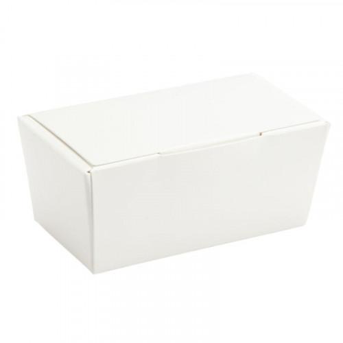 Ready-Assembled 2 Choc Ballotin Flat Top Box Only 66mm x 33mm x 31mm in White