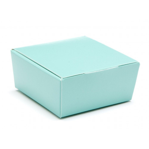 Ready-Assembled 4 Choc Ballotin Flat Top Box Only 66mm x 66mm x 31mm in Aqua