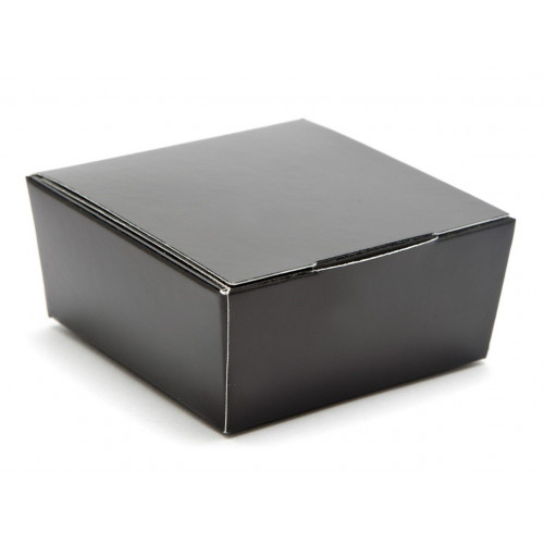 Ready-Assembled 4 Choc Ballotin Flat Top Box Only 66mm x 66mm x 31mm in Black